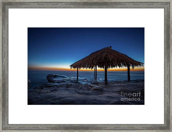 The Grass Shack At Windansea At Sunset Framed Print