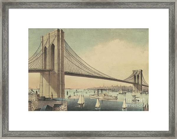 The Great East River Suspension Bridge Connecting Manhattan And Brooklyn Framed Print