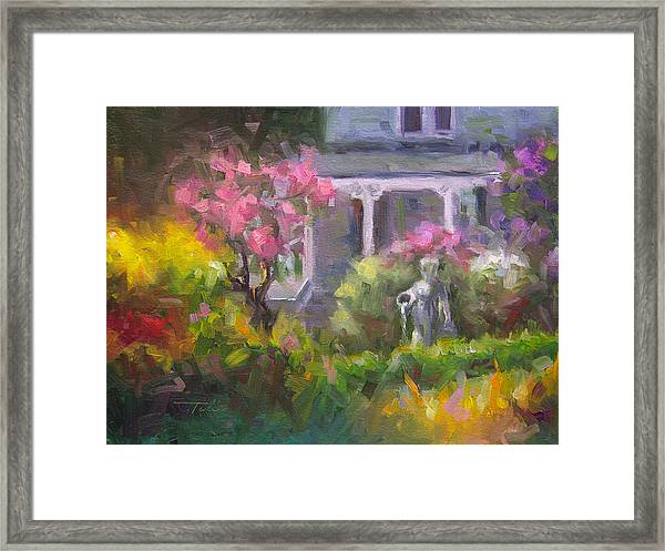 The Guardian - Plein Air Lilac Garden Framed Print
