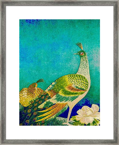 The Handsome Peacock - Kimono Series Framed Print