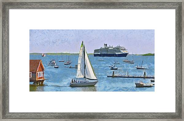 The Harbor At Rockland Maine Framed Print
