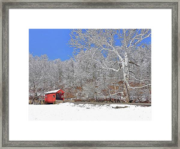 The Henry Bridge After A Late Winter Snow Framed Print
