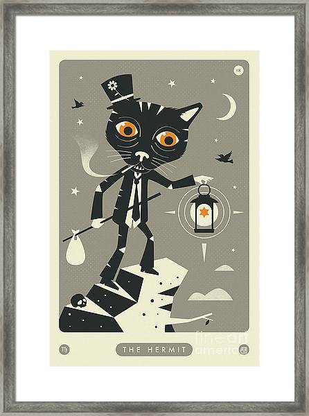The Hermit Tarot Card Cat  Framed Print by Jazzberry Blue