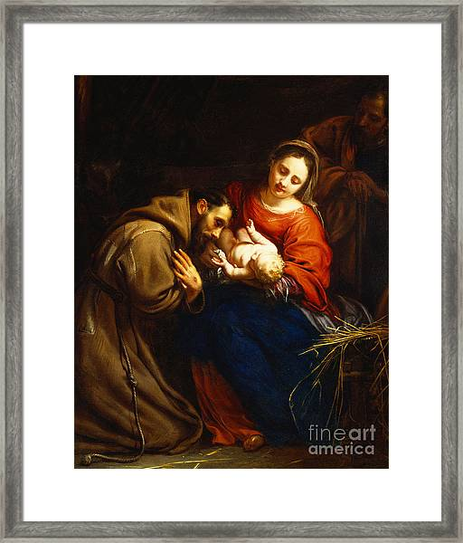 The Holy Family With Saint Francis Framed Print