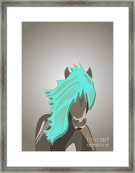 The Horse With The Turquoise Mane Framed Print