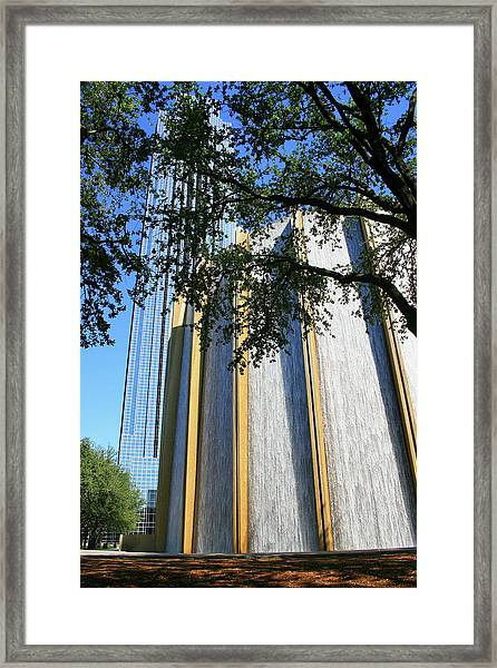 The Houston Water Wall And Williams Tower Framed Print