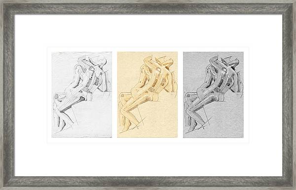The Kiss - Triptych - Homage Rodin Framed Print