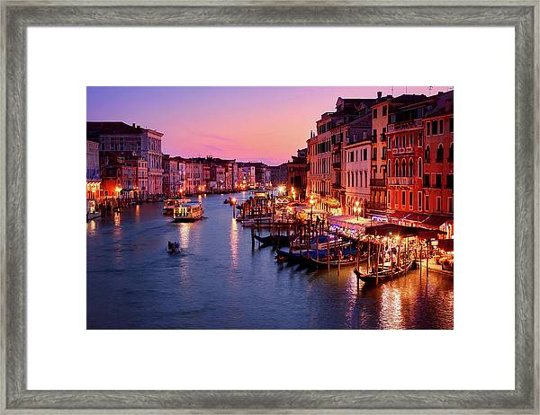 The Blue Hour From The Rialto Bridge In Venice, Italy Framed Print