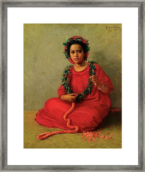 Framed Print featuring the painting The Lei Maker by Theodore Wores
