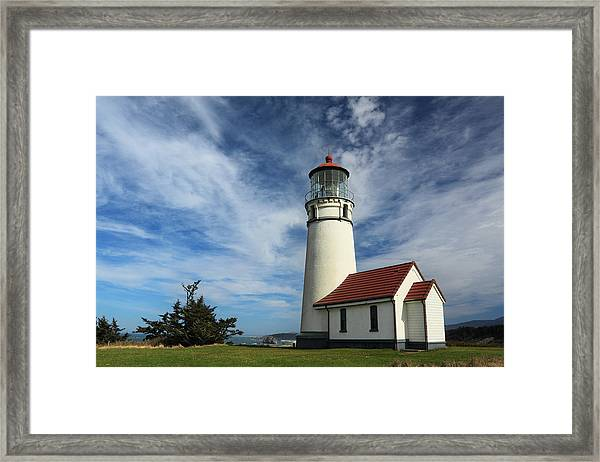 The Lighthouse At Cape Blanco Framed Print