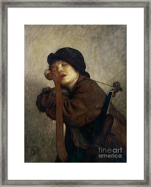 The Little Violinist Sleeping Framed Print