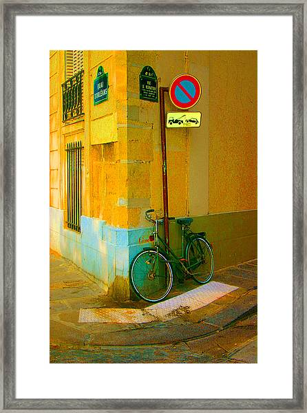 The Locked Bike Framed Print by Dennis Curry