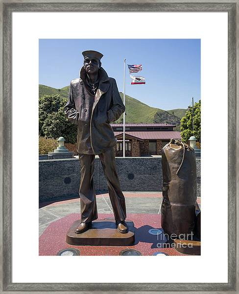 The Lone Sailor Memorial At The San Francisco Golden Gate Bridge Dsc6152 Framed Print