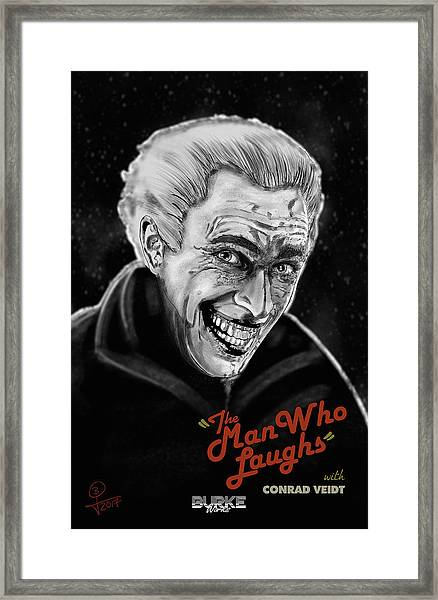 The Man Who Laughs Framed Print by Joseph Burke
