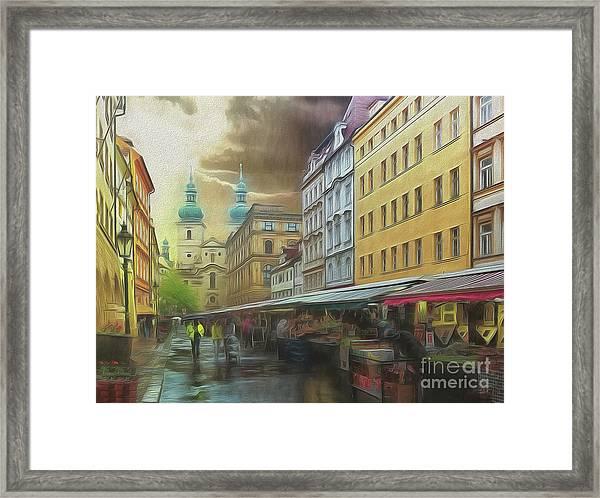 The Market In The Rain Framed Print