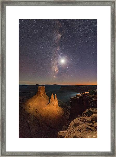 The Milky Way And The Moon From Marlboro Point Framed Print