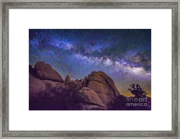 Milky Way Over Indian Rock Framed Print