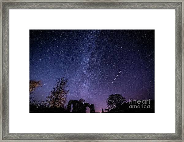 The Milky Way Over Strata Florida Abbey, Ceredigion Wales Uk Framed Print