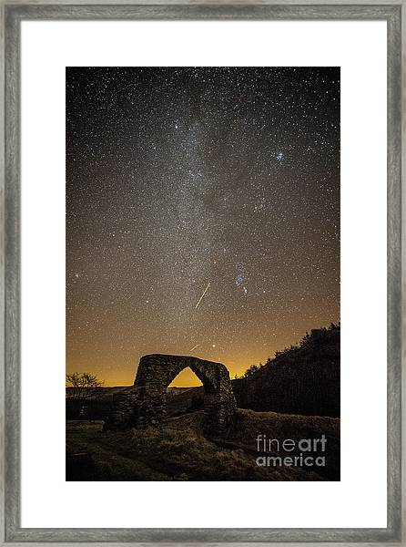The Milky Way Over The Hafod Arch, Ceredigion Wales Uk Framed Print