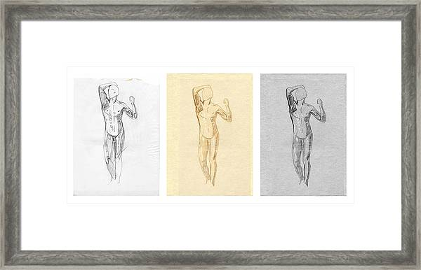 The Modern Age - Triptych - Homage Rodin  Framed Print