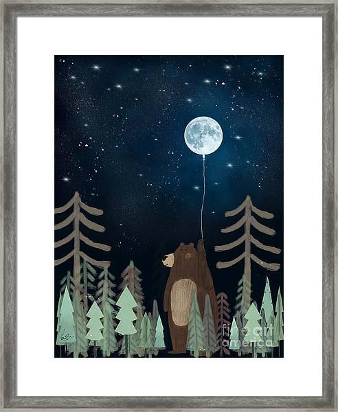 The Moon Balloon Framed Print