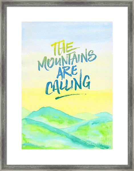 The Mountains Are Calling Yellow Blue Sky Watercolor Painting Framed Print