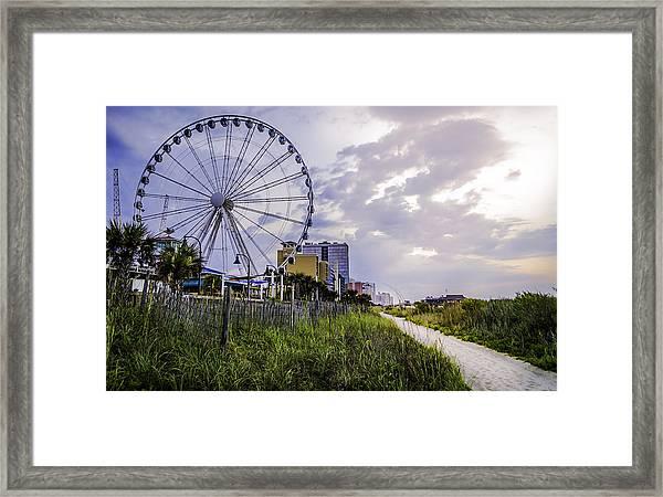 The Myrtle Beach, South Carolina Skywheel At Sunrise. Framed Print