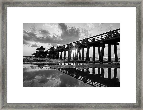 Naples Pier At Sunset Naples Florida Black And White Framed Print
