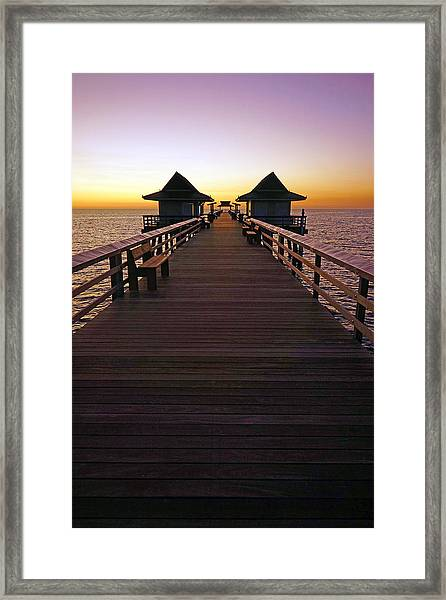 The Naples Pier At Twilight Framed Print