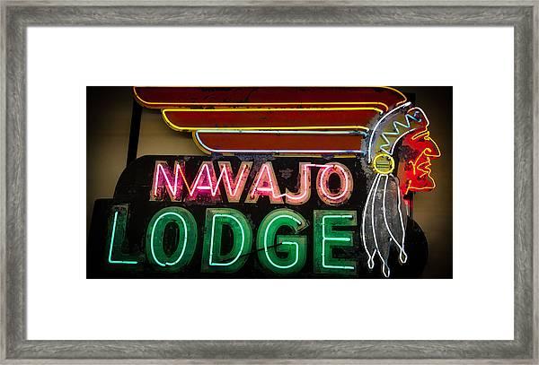 The Navajo Lodge Sign In Prescott Arizona Framed Print