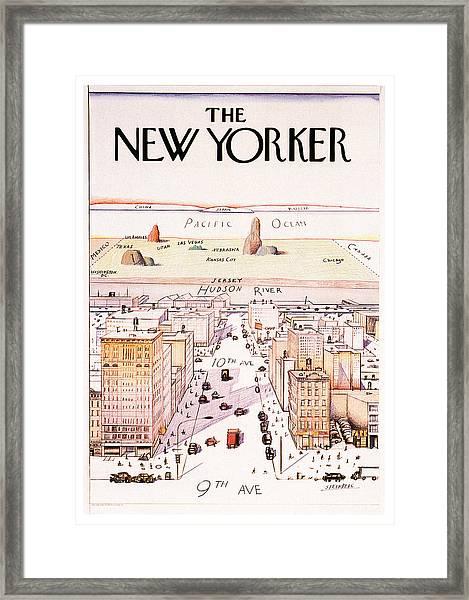 The New Yorker - Magazine Cover - Vintage Art Nouveau Poster Framed Print