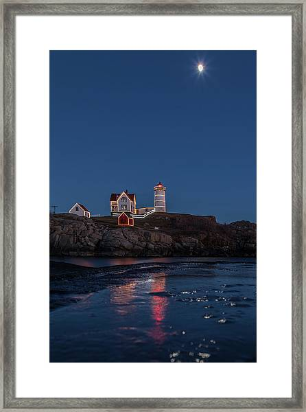 The Nubble Waiting For Snow Framed Print