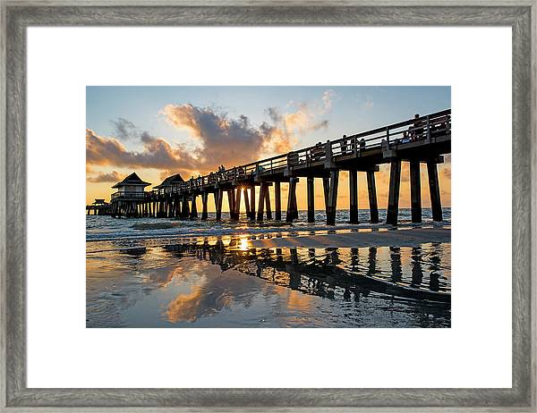Naples Pier At Sunset Naples Florida Ripples Framed Print