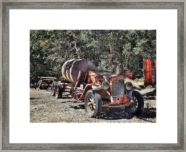 The Old Jalopy In Wine Country, California  Framed Print