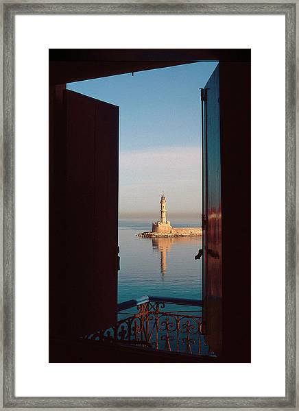 The Old Lighthouse In Chania Framed Print