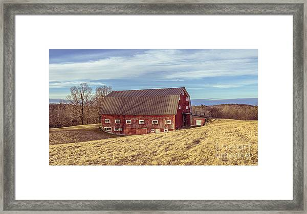 The Old Red Barn In Winter Framed Print