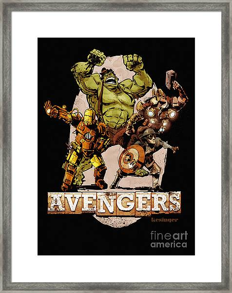 The Old Time-y Avengers Framed Print