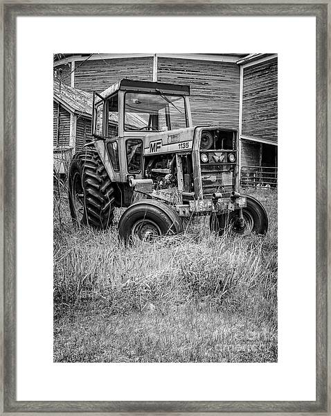 The Old Tractor By The Old Round Barn II Framed Print