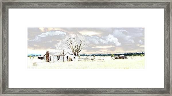 The Old Winter Homestead Framed Print