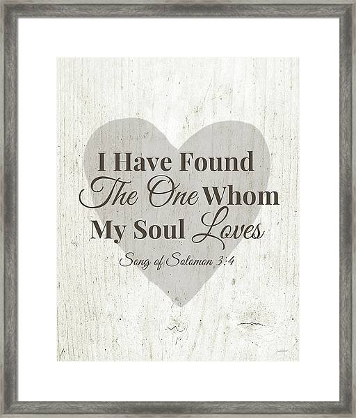 The One Whom My Sould Loves- Art By Linda Woods Framed Print