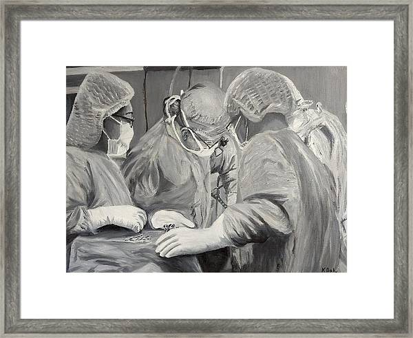 Framed Print featuring the painting The Operation by Kevin Daly