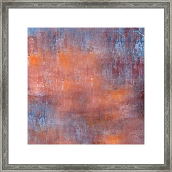 Framed Print featuring the digital art The Orange Fog by Mihaela Stancu