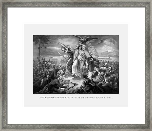 The Outbreak Of The Rebellion In The United States Framed Print
