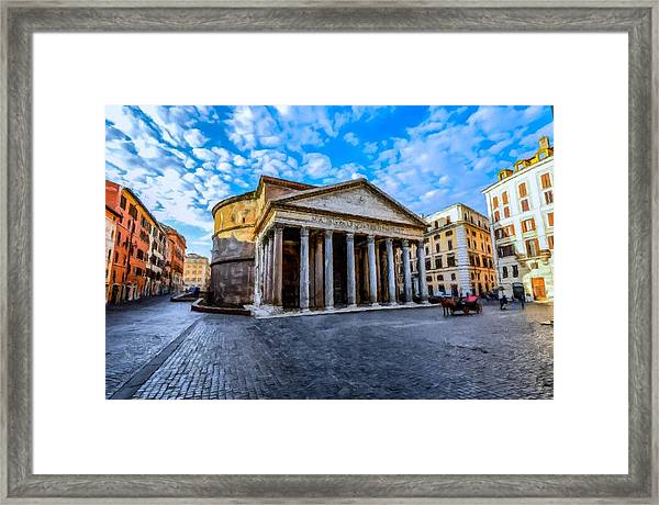 Framed Print featuring the painting The Pantheon Rome by David Dehner
