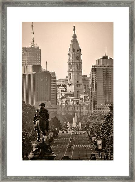 The Parkway In Sepia Framed Print