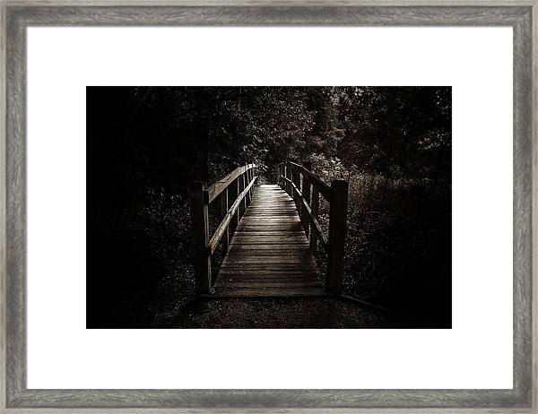 The Path Between Darkness And Light Framed Print