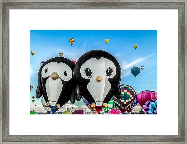 Puddles And Splash - The Penguin Hot Air Balloons Framed Print