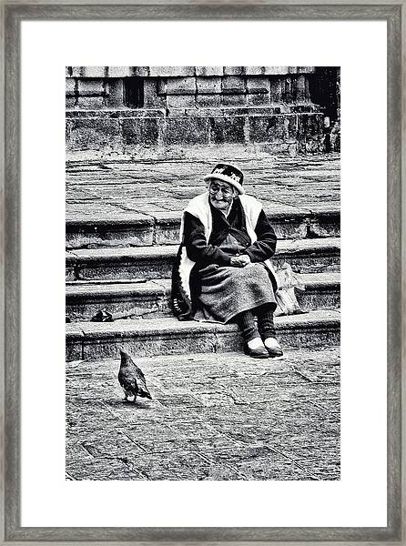 The Peruvian Lady Black And White Framed Print