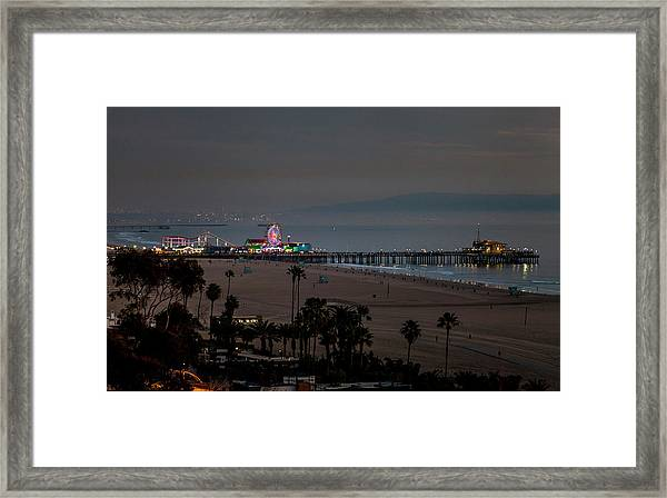 The Pier After Dark Framed Print