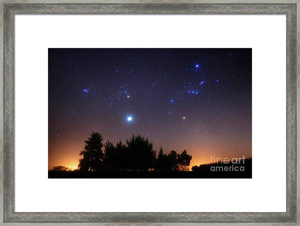 The Pleiades, Taurus And Orion Framed Print
